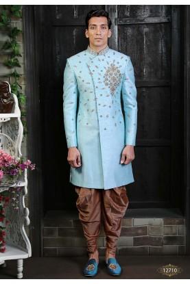 Silk Men's Indowestern Sky Blue Colour.
