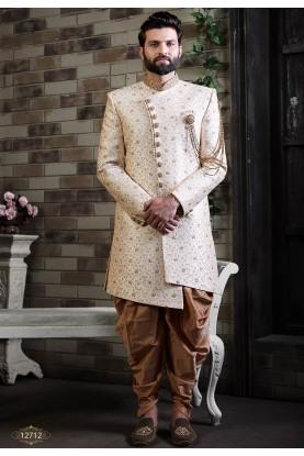 Cream Colour Silk Indian Designer Indowestern.