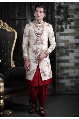 Men's Indowestern Sherwani Cream Colour Silk Fabric.