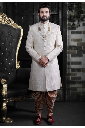 Cream,Off White Colour Latest Designer Groom Sherwani.