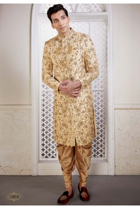 Brocade Fabric Indian Designer Sherwani Golden Colour.