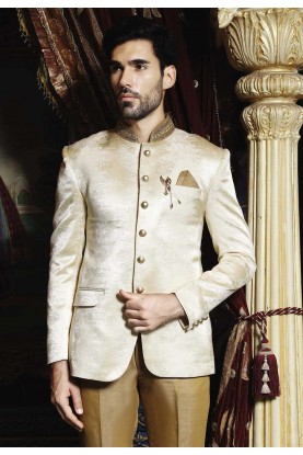 Buy Designer Suits for Men Cream Color Jodhpuri Suit