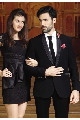 Buy Designer Suits for Men Black Color Wedding Suit