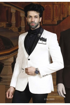 Buy Designer Suits for Men White Color Designer Tuxedo Suit