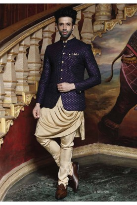 Buy Designer Suits for Men Blue Color Printed Jodhpuri Suit