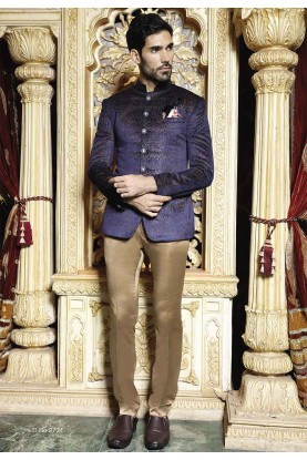Blue Color Men's Jodhpuri Suit.