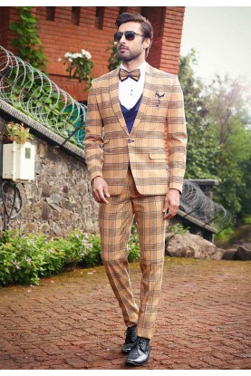 Buy designer suits for men in brown, beige colour