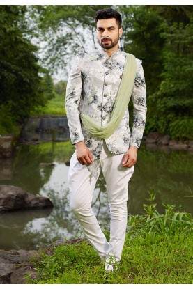 Buy designer suits for men in off white Colour
