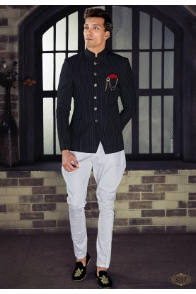 Black Colour Party Wear Jodhpuri Suit.