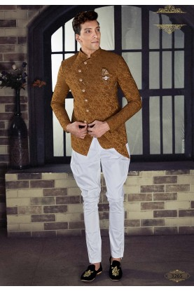 Golden,Brown Colour Brocade Jodhpuri Suit.