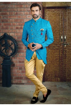 Buy designer suits for men in turquoise colour