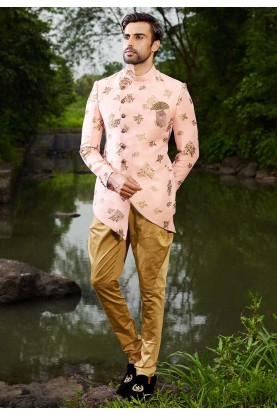 Buy designer suits for men in peach colour