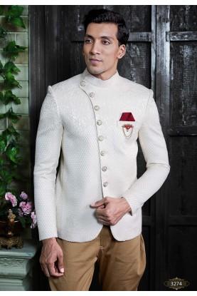 Off White Colour Party Wear Jodhpuri Suit.