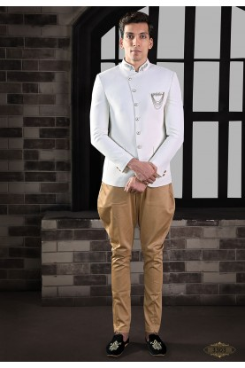 Exclusive Designer Jodhpuri Suit White Colour.