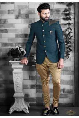 Green Colour Men's Jodhpuri Suit.