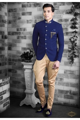 Elegant Royal Blue Colour Men's Jodhpuri Suit.