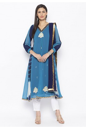 Blue Colour Georgette Salwar Suit.