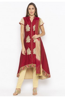 Cotton Silk Salwar Kameez Maroon Colour.