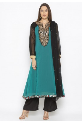 Teal Green Colour Indian Salwar Kameez.