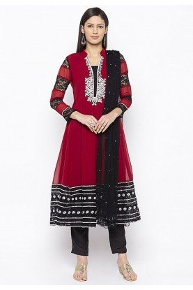 Georgette Salwar Suit Maroon Colour.