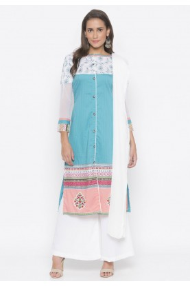 Printed Salwar Suit Blue Colour.