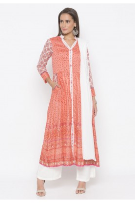 Peach Colour Printed Salwar Kameez.