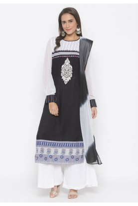 Black Colour Cotton Salwar Suit.