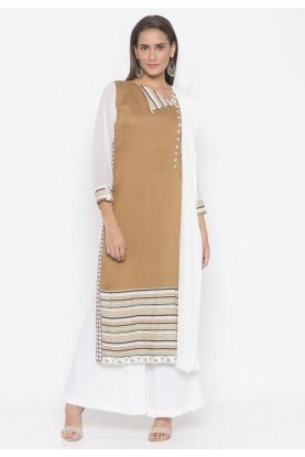 Cotton Printed Salwar Kameez Brown Colour.