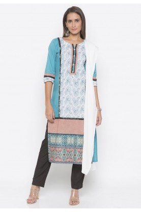 Blue Colour Printed Salwar Kameez.