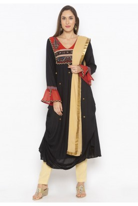 Cotton Salwar Suit Black Colour.