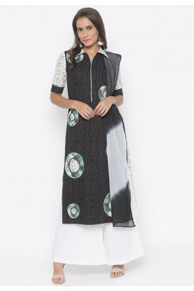 Black Colour Printed Salwar Kameez.