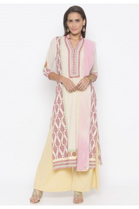 Indian Salwar Kameez Cream Colour.