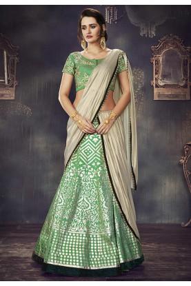 Sea Green Color & Jacquard,Silk Unstitched Lehenga Choli