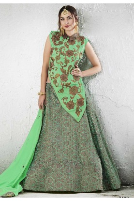 Jacquard,Silk Fabric & Green Color Pretty Unstitched Lehenga Choli