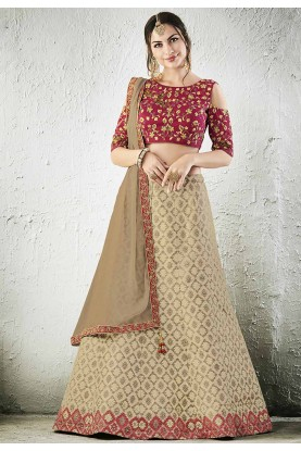 Beige Color Jacquard,Silk Bridesmaid Lehenga Choli