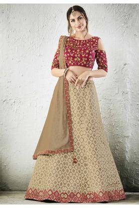 Beige Color Jacquard,Silk Bridesmaid Lehenga Choli