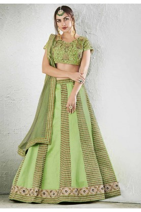 Light Green Color & Jacquard,Art Silk Beautiful Lehenga Choli