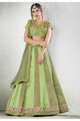 Light Green Color & Jacquard,Art Silk Beautiful Lehenga Choli