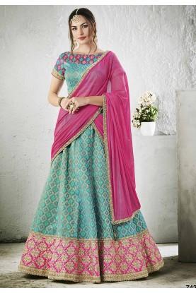 Women's Turquoise Color Pretty A Line Lehenga Choli