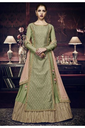 Nice Looking Green Color Designer Anarkali Salwar Kameez