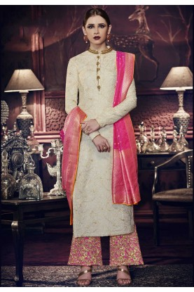 Rich and Elegant Off White Color Art Silk Party Wear Salwar Kameez