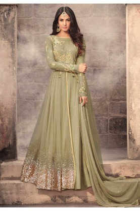 Green Color Net Fabric Amazing Salwar Kameez in Anarkali Style