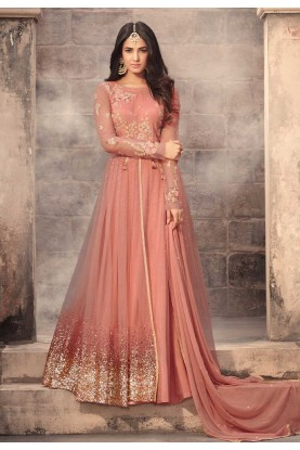 Peach Color Net Fabric Anarkali Salwar Kameez