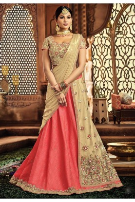 Engagement Lehenga Choli in Pink,Cream Color