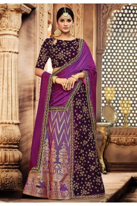 Nice Looking Wine,Purple Color Designer Bridal Lehenga Choli