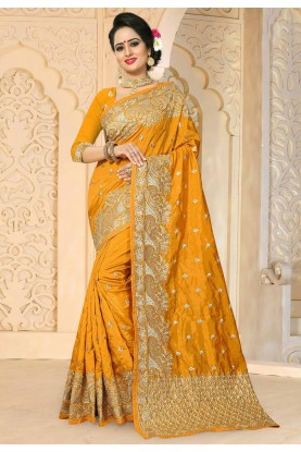 Yellow Color Art Silk Fabric Designer Saree