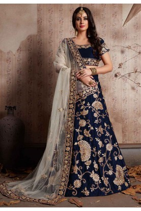 Blue Color Designer Bridesmaid lehenga Online