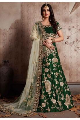 Green Color Bridesmaid lehenga Online for Engagement