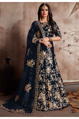 Blue Color Bridesmaid lehenga Online