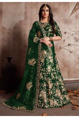 Green Color Indian Wedding Lehenga Choli for Bridesmaid